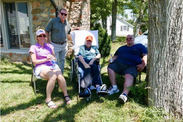 David's first visit back to the farm, July 2017, with Carolyn, Curt, and Church