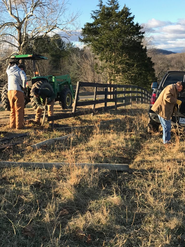 Thistlehill Farm fence being repaired.