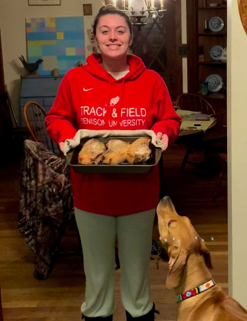 Mack serves up the first pork chops from our latest pigs.